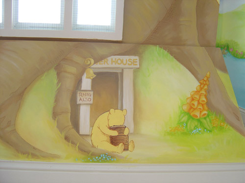 childrens hand painted wall mural